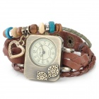 Retro Cow Split Leather Band Rectangle Dial Analog Bracelet Wrist Watch - Brown + Bronze (1 x AG4)