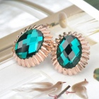 KCCHSTAR 18K Sunflower Crystal Zinc Alloy Earrrings - Golden + Green (Pair)