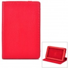 "Protective Rotatable Cow Split Leather for 7"" Kindle Fire - Red"