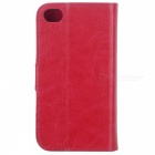 Protective PU Leather Case w/ Card Holder Slot for Iphone 4 - Deep Pink + Blue