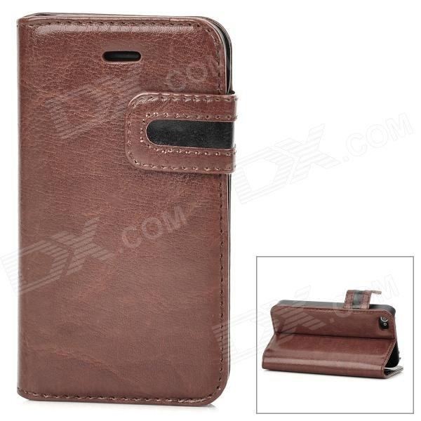 Protective PU Leather Case w/ Card Holder Slot for Iphone 4 - Brown + Black k win ip 4 stylish pu leather pc protective case w cute mustache holder for iphone 4s 4 brown