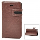 Protective PU Leather Case w/ Card Holder Slot for Iphone 4 - Brown + Black