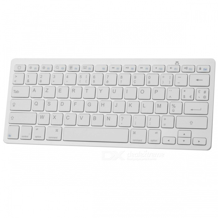 78-Key Bluetooth V3.0 Wireless Keyboard - White + Silver Grey (French / 2 x AAA) laptop keyboard for acer silver without frame bulgaria bu v 121646ck2 bg aezqs100110