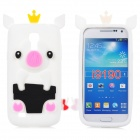 Crown Pig Style Protective Back Case for Samsung i9190 - White + Black + Pink