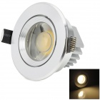HUGEWIN HSD642 3W 280lm 3500K COB LED Warm White Light Ceiling Lamp - Silver (AC 85~265V)