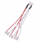1-to-3 RC Lipo Battery 3S Balance Charger Plug Adapter Cable - Black + Red + White (4-Pin / 11.5cm)