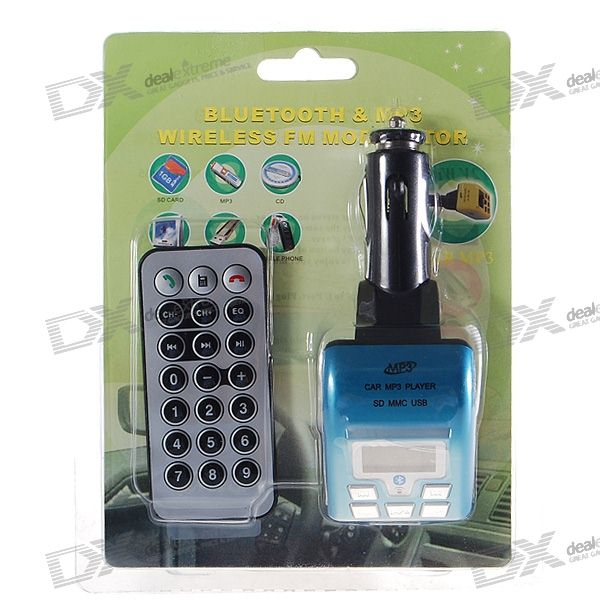 "1.0"" LCD A2DP Bluetooth MP3-spelare FM sändare med Caller ID Handsfree (SD/MMC/USB/2.5mm)"