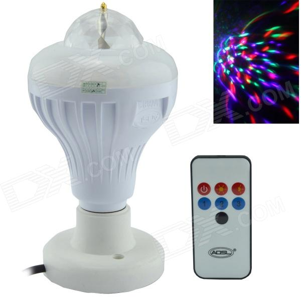 E27 8W 5-LED RGB Sound-Activated Rotating Stage Bulb w/ Lighting + Remote Controller - (85~260V)