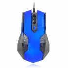 RAJFOO V5 USB 2.0 Wired Optical 800 / 1200 / 1600 / 2400dpi Mouse - Blue + Black