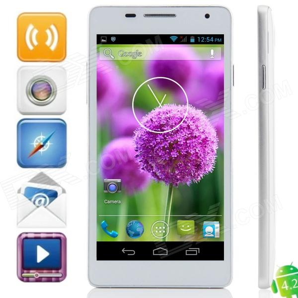 D2 MTK6572 Dual-Core Android 4 2 2 WCDMA Bar Phone w / 5 0, Wi-Fi, FM and  GPS - White