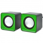 F-C2 Portable Mini USB Powered Speaker for Cell Phone + Computer + DVD - Green + Black + Silver