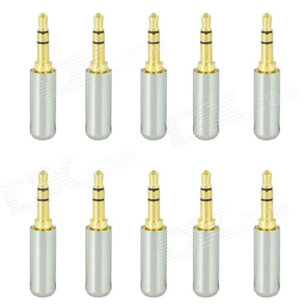 3.5mm Stereo Soldering Plug - Silver (10 PCS)