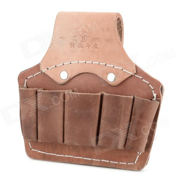Multifunction Split Leather Detection / Maintenance Tool Waist Bag for Electrician - Brown canvas kit multifunction waist bag electrician repair water resistant pockets tool bag