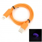 USB 2.0 Male to 8 Pin Lightning Male Charging & Data Cable w/ Light - Orange (100cm)