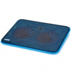 "Coolcold Thin Ice Ultra-Slim Mute 2-Fan USB Cooling Gear Stand for 17"" Laptop - Blue + Black"