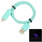 USB 2.0 Male to 8 Pin Lightning Male Charging & Data Cable w/ Light - Light Blue (100cm)
