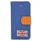 UK Nationalflagge Muster schütz Jeans + PU-Leder Etui für iPhone 5 - Blau