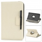 360 Degree Rotatable PU Leather Case w/ Stylus for Samsung Galaxy Tap3 8.0 T310/T3110 - Beige