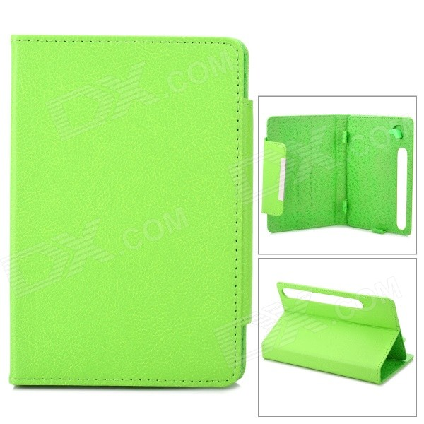 Lychee Pattern Protective PU Case w/ Stand for 7 Tablets OADA / Ainol + More - Yellowish Green protective pu leather case w stand for tablets within 9 black