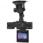 Buy H3000C 2.0 inch Screen TFT 90' Wide Angle CMOS Double Camera Night Vision Car DVR Recorder - Black