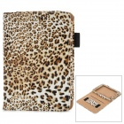 Fashion Leopard Muster pu Ledertasche w / Elastic für Kindle Paper White - White + Black + Brown