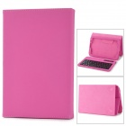 59-Key Bluetooth 3.0 Wireless Keyboard w/ PU Leather Case for Samsung Galaxy N5100 - Deep Pink