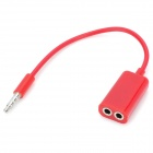 1-to-2 3.5mm Male to Female Audio Sharing Adapter Cable - Red