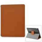 WP-34 Toothpick Pattern Protective PU Leather + PC Case w/ Auto Sleep + Stand for Ipad 3 / 4 - Brown