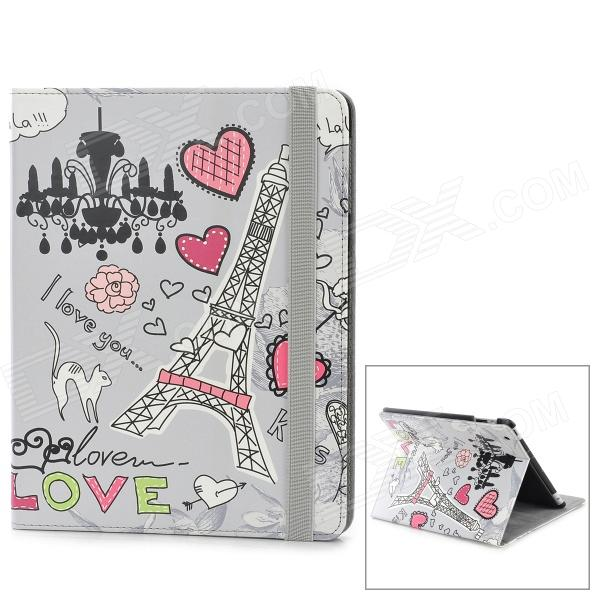 22030097M Cartoon Tower Pattern PU Leather Case w/ Auto Sleep for Ipad 2 / 3 / 4 - Multicolored 22030114m rotatable statue of liberty pattern pu leather case for ipad 2 3 4 multicolored