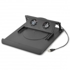 Folding Laptop Rotatable 2-Fan Cooling Cooler Fan - Black