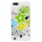 Water Drop Five-Pointed Star Style Protective ABS Back Case for iPhone 5 - Green + Yellow + White