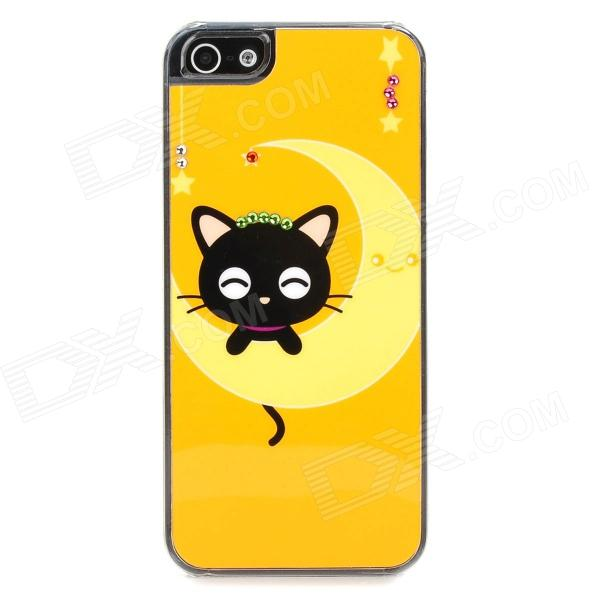 Cute Cat Style Protective PVC Back Case for Iphone 5 - Yellow + Black