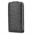 Artificial Ostrich Style Protective PU Leather Case for Iphone 4 / 4S - Black