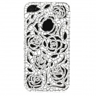 Hollow-Out Rose Style Protective Plastic Back Case for Iphone 4 - White
