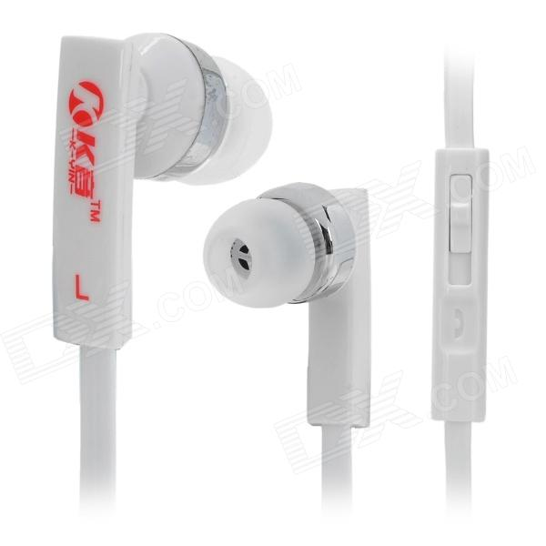 K-YIN K-3 Stylish In-Ear Earphones w/ Microphone for Iphone / Samsung - White (3.5mm Plug / 1.1m) гарнитура проводная samsung eo eg920l in ear fit red