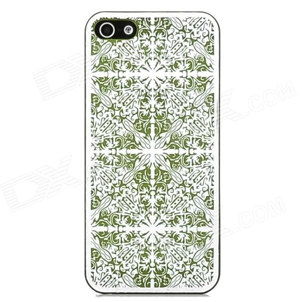 Laser Flower Pattern Protective PC Back Case for Iphone 5 - Green water drop embossed pattern style protective abs back case for iphone 5 green purple