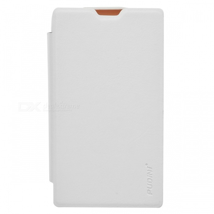 Pudini LX520R Stylish Flip-Open PU + PC Case w/ Screen Guard for Nokia Lumia 520 - White