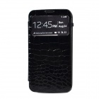 Stylish Crocodile Pattern Flip-open Protective PU Leather Case for Samsung i9200 -Black