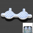 Cute Fun Polka Dot Pattern Brassiere Style Silicone Adornment for Iphone - Blue + White