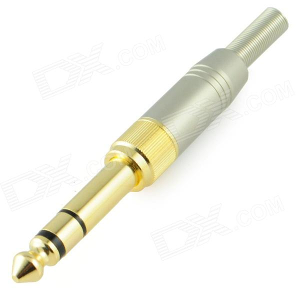Gold Plated 6.35mm to 3.5mm Stereo Plug Soldering Adapter - Golden + Silver gold plated banana plug jack connector set golden 3 5mm 10 pairs