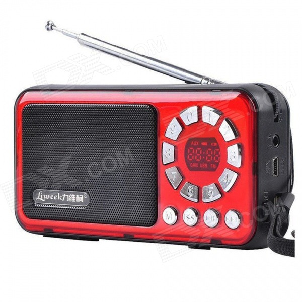 Liweek IF135 Digital FM Radio Media Player Speaker w/ TF / Antenna - Red