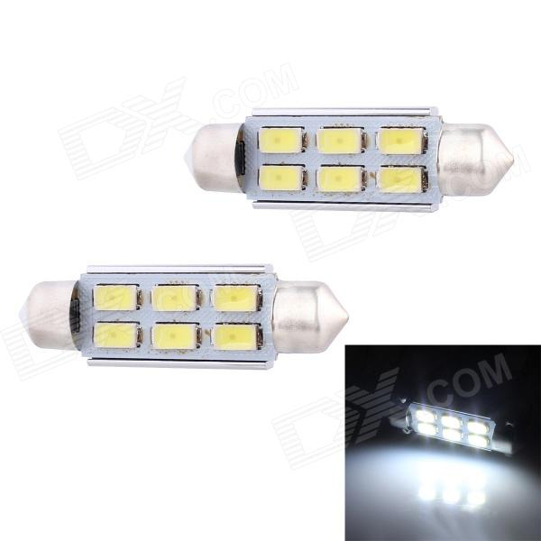 цены на Festoon 42mm 3W 240lm 6 x SMD 5630 LED White Light Decoding Car Reading Lamp Dome Bulb (12V / 2 PCS) в интернет-магазинах