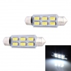 Festoon 42mm 3W 240lm 6 x SMD 5630 LED White Light Decoding Car Reading Lamp Dome Bulb (12V / 2 PCS)