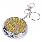 Portable Shining Rhinestone Stainless Steel Spring Lid Ashtray w/ Keyring - Silver + Yellow