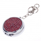Portable Shining Rhinestone Stainless Steel Spring Lid Ashtray w/ Keyring - Silver + Red