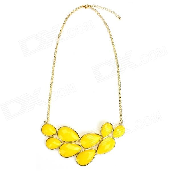 eQute POWT2C7 Exaggerated Bubble Choker Necklace - Yellow + Golden (11