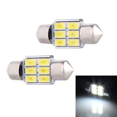 Festoon 31mm 3W 240lm White 6*SMD LED Decoding Car Reading Lamp (2PCS)