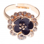 Fashionable Drip Flowers 18K Gold Plated Zinc Alloy Ring w/ Shiny Rhinestone for Women - Golden