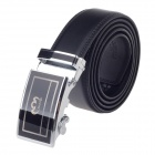 Rich Age Fashionable Cow Split Leather Waist Belt w/ Zinc Alloy Buckle for Men - Black + Silver