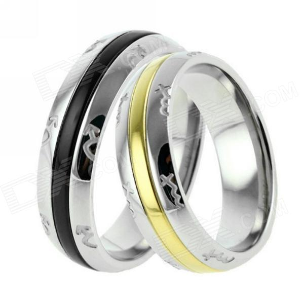 eQute eQuteCOO12C1 Pattern of Love Titanium Steel Couple Rings Set - Silver (Size-Man 8 / Woman 6) kcchstar the eye of god high quality 316 titanium steel necklaces golden blue